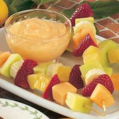 Fruit Kabobs with Citrus Dip Recipe- Fresh fruit with a yogurt dip is another yummy, easy dish.