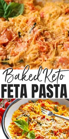 Keto Baked Feta Pasta Recipe - This keto baked feta pasta recipe is a low carb version of the viral TikTok pasta, made with FIVE different options for noodles, all low carb. #wholesomeyum Real Food Recipes, Keto Recipes, Dinner Recipes, Healthy Recipes, Healthy Meals, Keto Pasta Recipe, Pasta Recipes Video, Tomato Pasta Bake, Feta Pasta