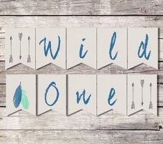 Wild One Birthday Banner, First Birthday Banner, Tribal Banner, Feathers Arrow, Boho Banner, Printable Banner, Instant Download, Boy Banner by SarahFinnDesign on Etsy https://www.etsy.com/listing/278362586/wild-one-birthday-banner-first-birthday