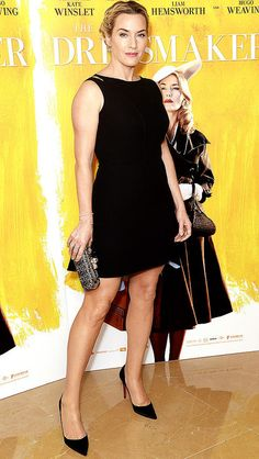 Kate Winslet in a little black dress and Christian Louboutin pumps