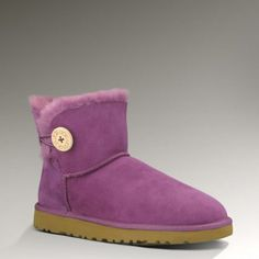 Womens Mini Bailey Button By UGG Australia wish my fairy godmother would bring me these in Peashoot Purple Uggs, Purple Boots, Classic Ugg Boots, Ugg Classic, Ugg Winter Boots, Snow Boots, Women's Boots, Winter Coat, Ugg Boots Sale