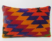 16x24 HAND WOVEN orange lumbar pillow boho tapestry gypsy textile couch pillow cover bohemian pillow floor cushion cover kilim pillow 19134