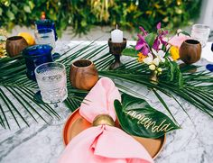 Tropical pink and coral Wedding Rehearsal Dinner - Inspired By This
