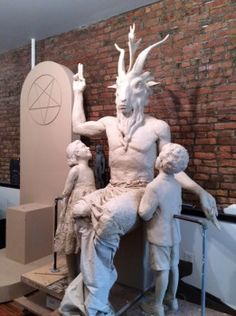 Oklahoma State House Lawn Baphomet statue 2