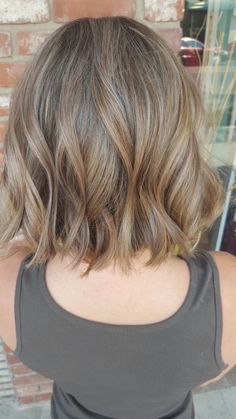 Balayage Dark Blonde beach blonde short textured Bob by Stacy Pope