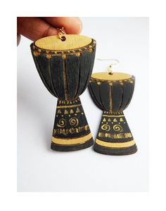 Drum Earrings African Jewelry Black and Gold African Drum Wooden Earrings Hand Painted Music Instrument Wood Tribal by TheBlackerTheBerry