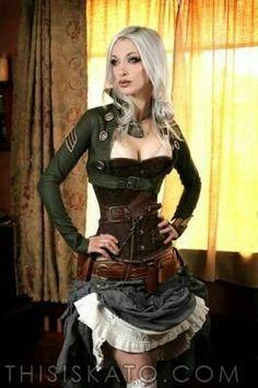 Celebrating Beautiful Steampunk Girls in Awesome Costumes Steampunk Mode, Steampunk Couture, Steampunk Dress, Steampunk Cosplay, Gothic Steampunk, Steampunk Clothing, Steampunk Fashion, Gothic Fashion, Steampunk Necklace