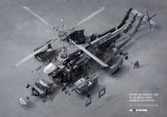 Australian Defence Force (Y&R, Melbourne: Cannes Lions, Bronze) Technical Illustration, Technical Drawing, Melbourne, Cannes Lions, Recruitment Ads, Things Organized Neatly, Australian Defence Force, Exploded View, Creative Company