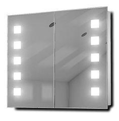 Excel Fluorescent Illuminated Bathroom Mirror Cabinet with Sensor & Shaver