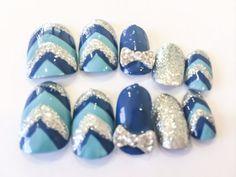 Chevron Fake Nails Blue Acrylic Nails Glitter by LetThemSparkle http://cutenail-designs.com/