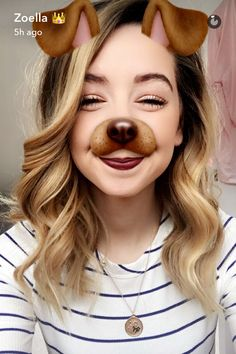Zoella with the dog filter Zoella Beauty, Hair Beauty, Beauty Style, Sugg Life, Zoe Sugg, British Youtubers, Snapchat Filters, Just Be You, Celebs