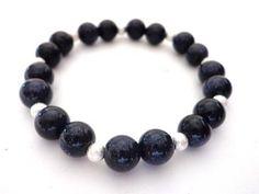 Blue Goldstone and silver stretch bracelet £8.00