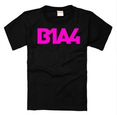 B1a4 fashion pink letters printing black t shirt kpop o neck short sleeve t-shirt for summer style men women plus size top tees #Affiliate