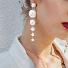 Shop & Buy Fine jewelry pearl drop earrings Women jewelry fashion chic pendant earrings Online from Aalamey Pearl Stud Earrings, Pendant Earrings, Unique Earrings, Pearl Jewelry, Women's Earrings, Wedding Jewelry, Jewelery, Fine Jewelry, Silver Earrings