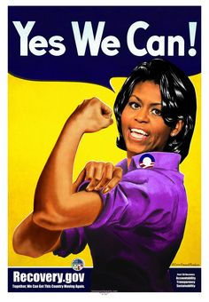 """gov,"""" First Lady Michelle Obama as Rosie the Riveter. Signed offset lithograph by artist O. Rosie The Riveter Poster, Karma, Obama Poster, First Ladies, Feminist Icons, Feminist Shirt, We Can Do It, New Face, American Women"""