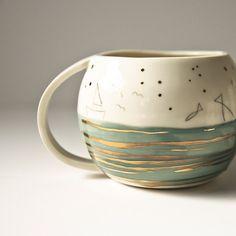 Hand Illustrated Porcelain Mugs By karoArt On Etsy