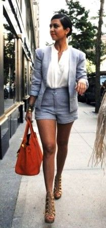 Who made Kourtney Kardashian's orange handbag, nude lace up shoes, blue short suit and button down top that she wore in New York? Shorts, top and jacket – Bec Bridge Shoes – Christian Louboutin Purse – Hermes Kardashian Style, Kourtney Kardashian, Orange Handbag, Short Suit, Her Style, Work Wear, Womens Fashion, Fashion Trends, Ladies Fashion
