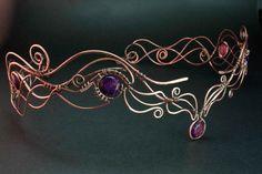 Variscite Circlet Wire wrapped tiara Copper by StasyaWireWrap