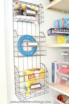 pantry organization tips, closet, kitchen design, organizing, Think of different uses for office organizers Diy Organizer, Organizing Wires, Organizing Your Home, Pantry Storage, Pantry Organization, Wire Storage, Kitchen Storage, Pantry Makeover, Cute Kitchen