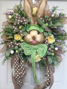 Easter Bunny Head Mesh Wreath by WilliamsFloral on Etsy