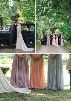 Stunning bridal party. Love the vintage dresses.