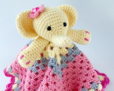 Crochet Elephant Lovey - Security Blanket Easy Patterns, Easy Crochet Patterns, Crochet Lovey, Crochet Toys, Crochet Elephant, Lovey Blanket, Security Blanket, Baby Blankets, Crocheting