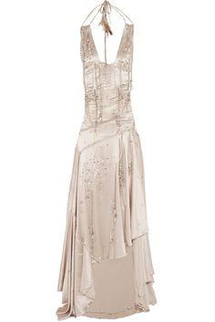Roberto+Cavalli+Embellished+silk+maxi+dress