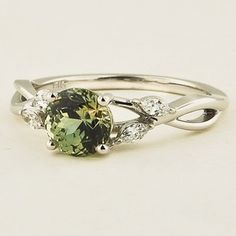 18K White Gold Sapphire Willow Diamond Ring - Set with a 6.0mm Round Light Green Sri Lankan Sapphire #BrilliantEarth