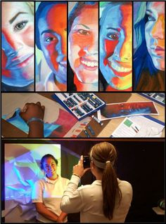 Oil pastel portraits. Use two projectors to project opposing colors at opposite angles while taking source photos.
