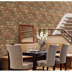 "Brewster Home Fashions Gentlemen's Quarters Oxford 33' x 20.5"" Brick Wallpaper…"