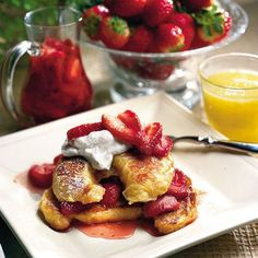 Croissant French Toast with Fresh Strawberry Syrup by Southern Living. Stale croissants work best in this French Toast recipe; top with fresh strawberry syrup and sweetened whipped cream. Fresh Strawberry Syrup Recipe, Strawberry Dessert Recipes, Strawberry Glaze, Strawberry Topping, Strawberry Shortcake, What's For Breakfast, How To Make Breakfast, Morning Breakfast, Morning Coffee