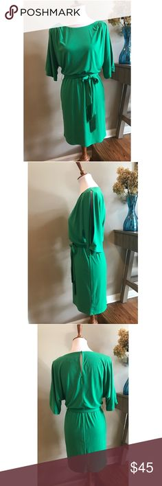 "Jessica Simpson Green Cold Shoulder Dress size S Jessica Simpson green cold shoulder belted dress. Super comfortable stretch material. Figure flattering style. Keyhole back with button closure. Excellent Condition! Tag size S. Approximate measurements laying flat: armpit to armpit 18"", waist 13"" (stretchy), length shoulder to hem 35"". Bundle and Save! Jessica Simpson Dresses"