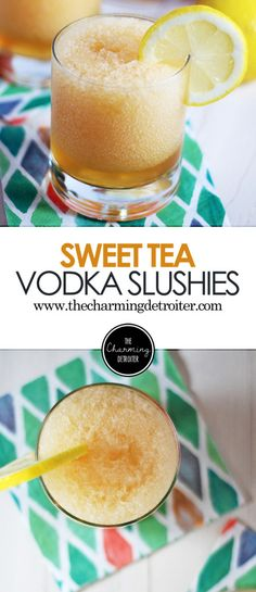 This sweet tea vodka slushies recipe is going to be your new favorite this summer: super refreshing and filled with lemony goodness!