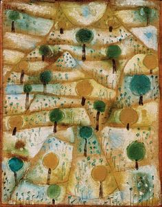"""lawrenceleemagnuson: """" Paul Klee Small Rhythmic Landscape oil on canvas mounted on cardboard x cm """" Abstract Expressionism, Abstract Art, Paul Klee Art, Modigliani, Art Abstrait, Art Graphique, Wassily Kandinsky, Tree Art, Oeuvre D'art"""