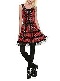 HOTTOPIC.COM - Red Plaid Lace-Up Dress