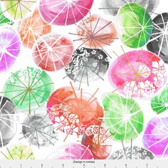 Watercolor Summer Parasol Fabric - Parasols By Graceful - Rainbow Summer Umbrella Cotton Fabric By The Yard With Spoonflower by Spoonflower on Etsy https://www.etsy.com/ca/listing/513472771/watercolor-summer-parasol-fabric