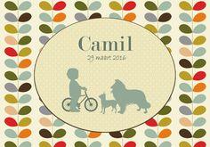 Geboortekaartje Camil - voorkant - Pimpelpluis - https://www.facebook.com/pages/Pimpelpluis/188675421305550?ref=hl (# jongen - hond - fiets - silhouet - origineel)