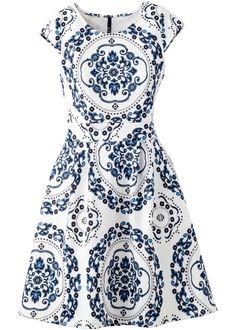 Vestido em look Scuba azul/branco encomendar agora na loja on-line bonprix.com.br  R$ 119,90 a partir de Para curtir o verão com estilo! Com saia evasê, de ...