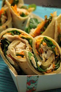 Wrap de poulet, carottes et mimolette