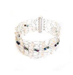 Wire crochet bracelet    peaches bead beaded by selenayselenay, $20.00