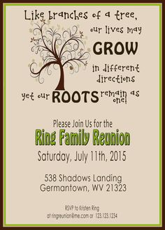Family Reunion Invite Swirly Tree PRINTABLE by 2LittleDunn More