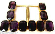 Awesome Purple Amethyst Glass Art Deco Art Nouveau Brass Belt Buckle...HUGE!