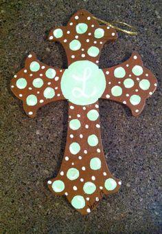 Painted cross Painted Wooden Crosses, Wood Crosses, Cross Door Hangers, Project Ideas, Craft Ideas, Mandala Dots, Adult Crafts, Cross Paintings, Love Symbols