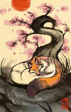 Japanese Zen fox love yin yang balance