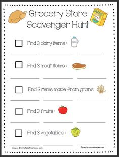 Grocery Store Scavenger Hunt | Play 2 Learn with Sarah