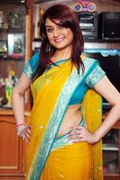 Sonia Agarwal Latest Hot Saree Stills, Beautiful South Indian Actress Sonia Agarwal photos in yellow saree, Sonia Agarwal glam photo stills in saree