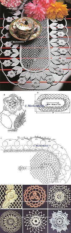 Вязание крючком - ирландское кружево - салфетки и дорожки