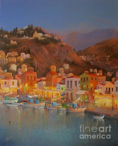 HARBOUR LIGHTS SYMI GREECE