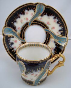 Rare Antique Haviland & Co Limoges, Sevres Style, Demitasse Cup & Saucer
