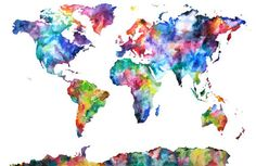 Watercolor Map Print World Map Watercolor Painting by AudreyDeFord (world map)